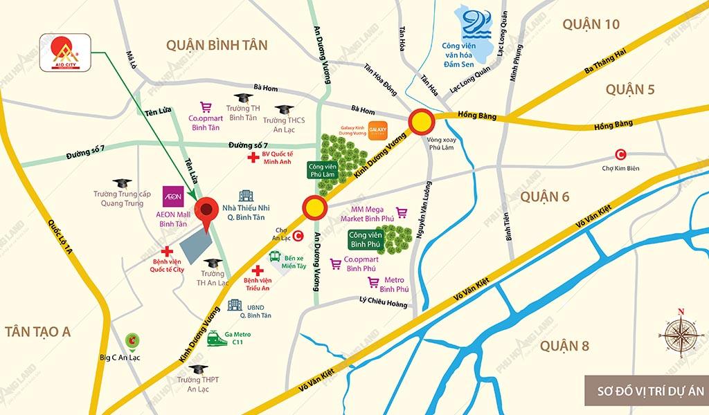 Vị trí dư án Aio City Bình Tân.