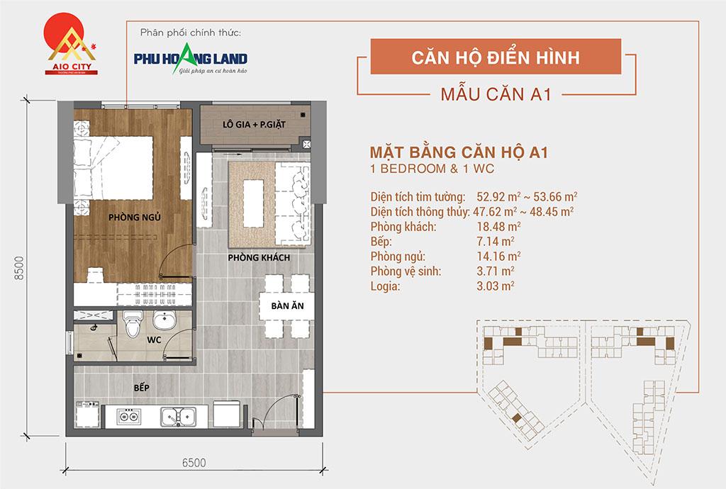 Aio City Bình Tân căn hộ 1 phòng ngủ 1wc.