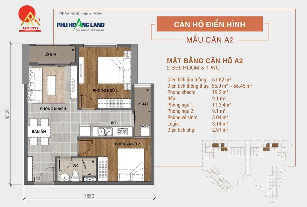 Aio City Bình Tân căn hộ 2 phòng ngủ 1wc.