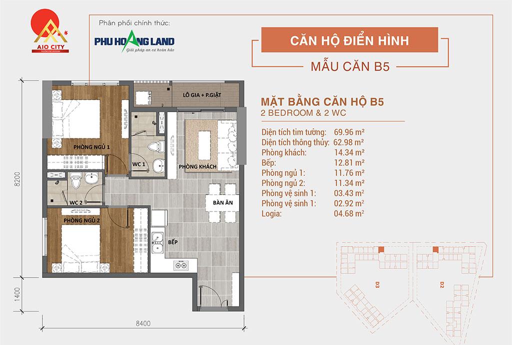 Aio City Bình Tân căn hộ 2 PN + 2WC