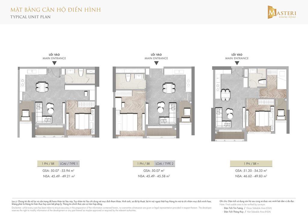 Thiết kế căn hộ 1 phòng ngủ Masteri Centre Point.