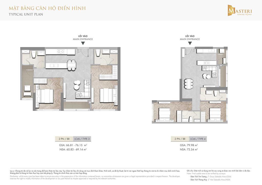 Thiết kế căn hộ 2 phòng ngủ Masteri Centre Point.
