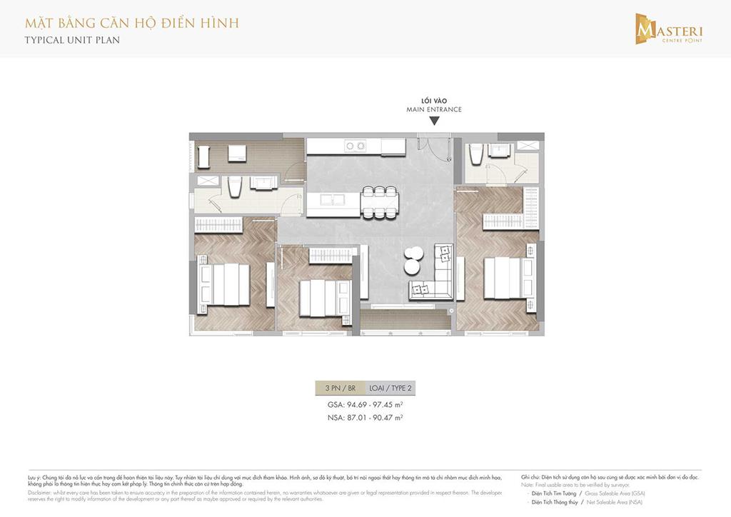 Thiết kế căn hộ 3 phòng ngủ Masteri Centre Point.