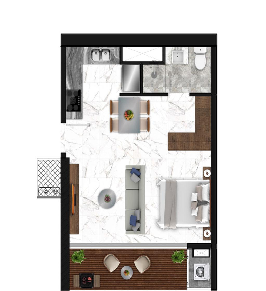 Sunshine Horozon thiết kế căn 1 phòng ngủ 49m2
