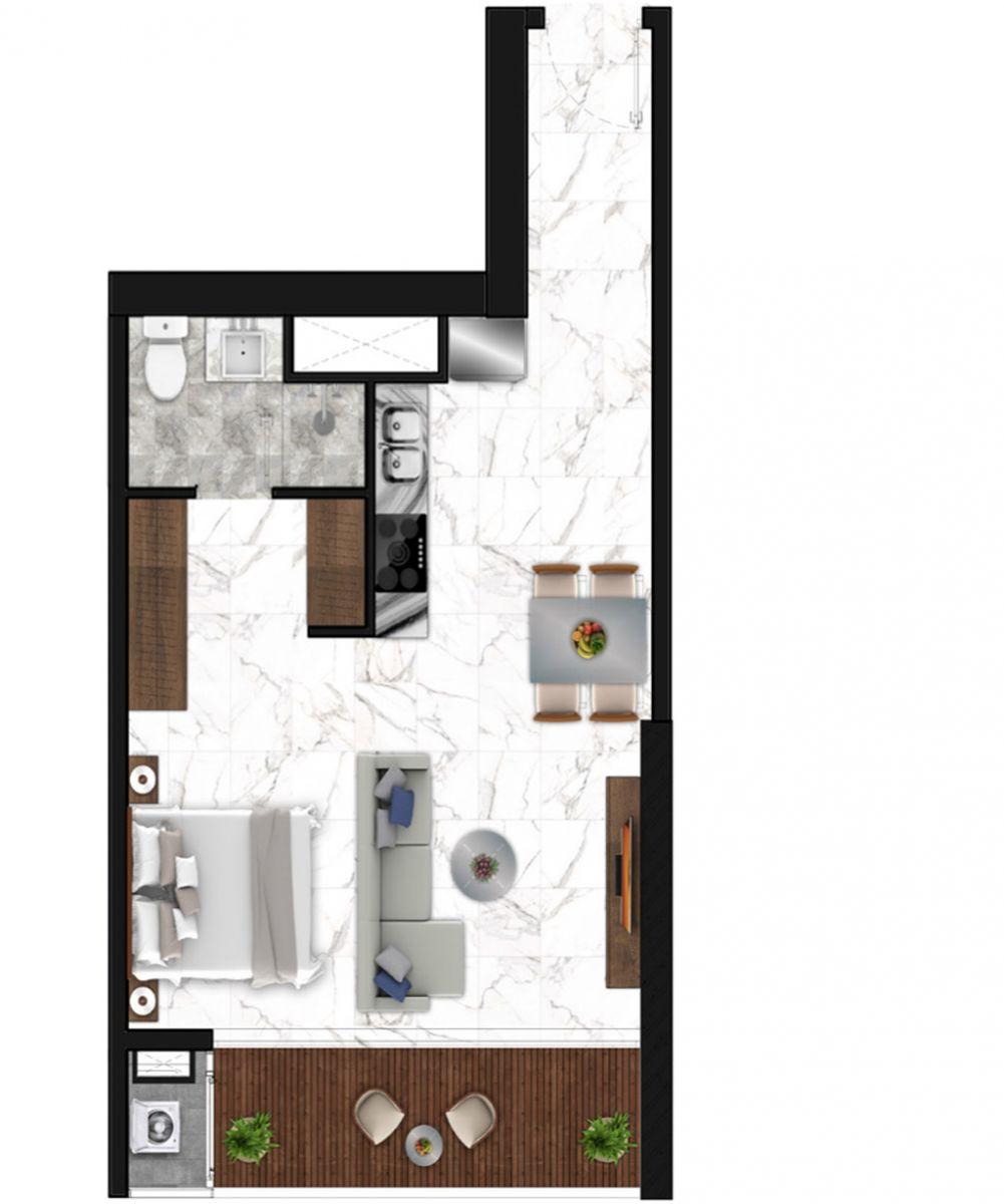 Sunshine Horozon thiết kế căn 1 phòng ngủ 52m2