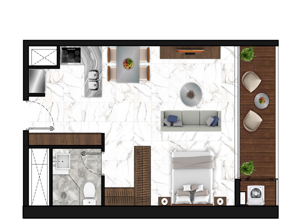 Sunshine Horozon thiết kế căn 1 phòng ngủ 53m2