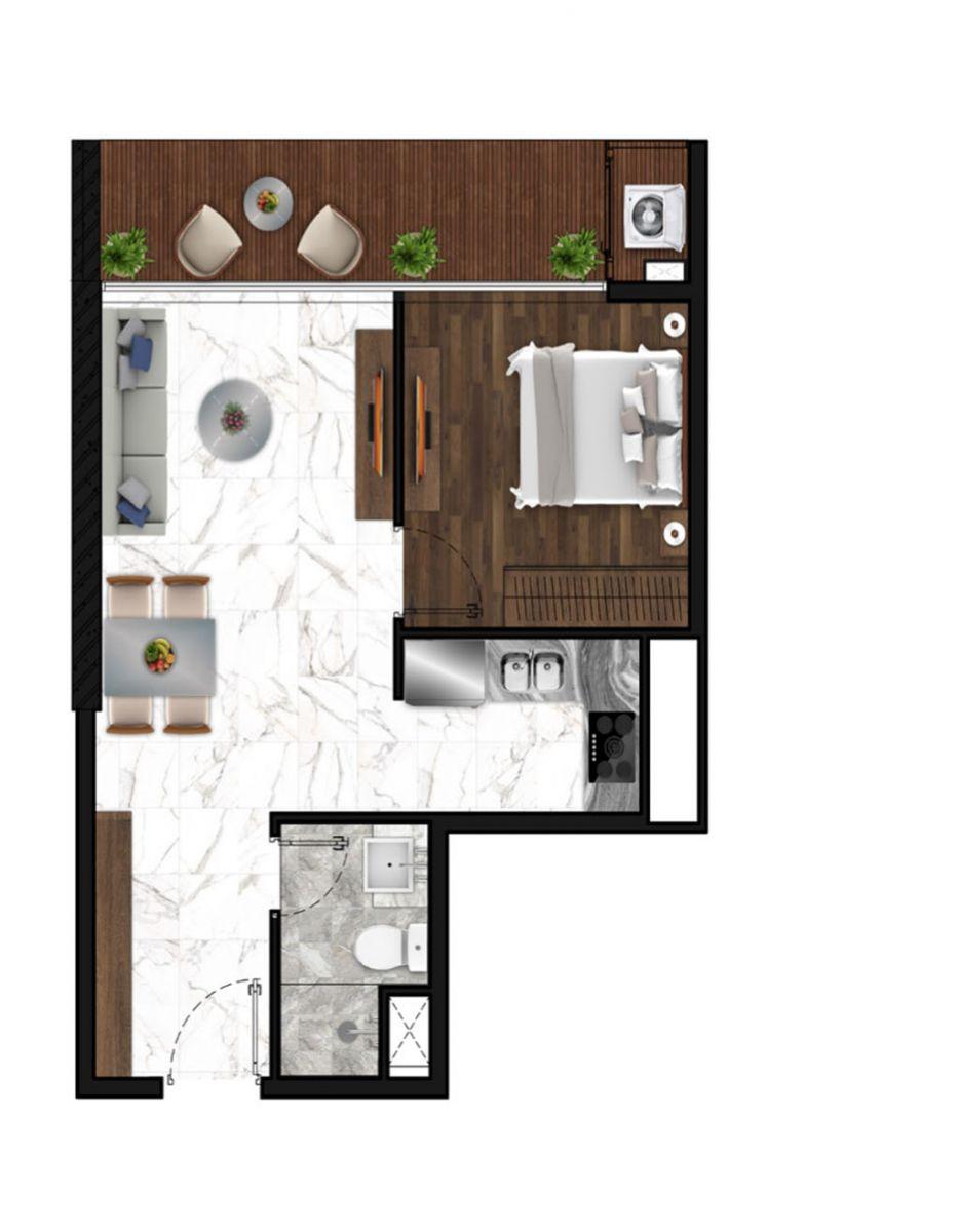 Sunshine Horozon thiết kế căn 1 phòng ngủ 54m2