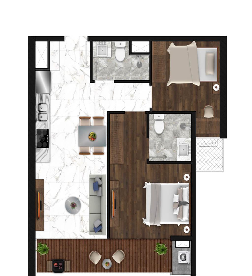 Sunshine Horozon thiết kế căn 2 phòng ngủ 70m2