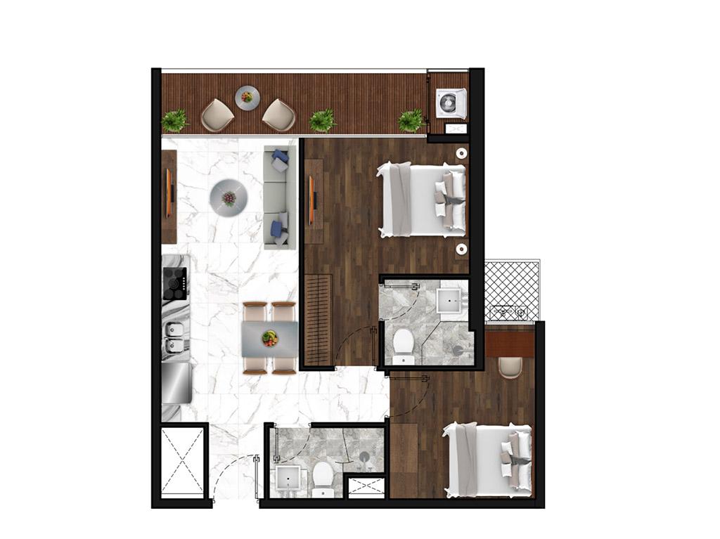 Sunshine Horozon thiết kế căn 2 phòng ngủ 71m2