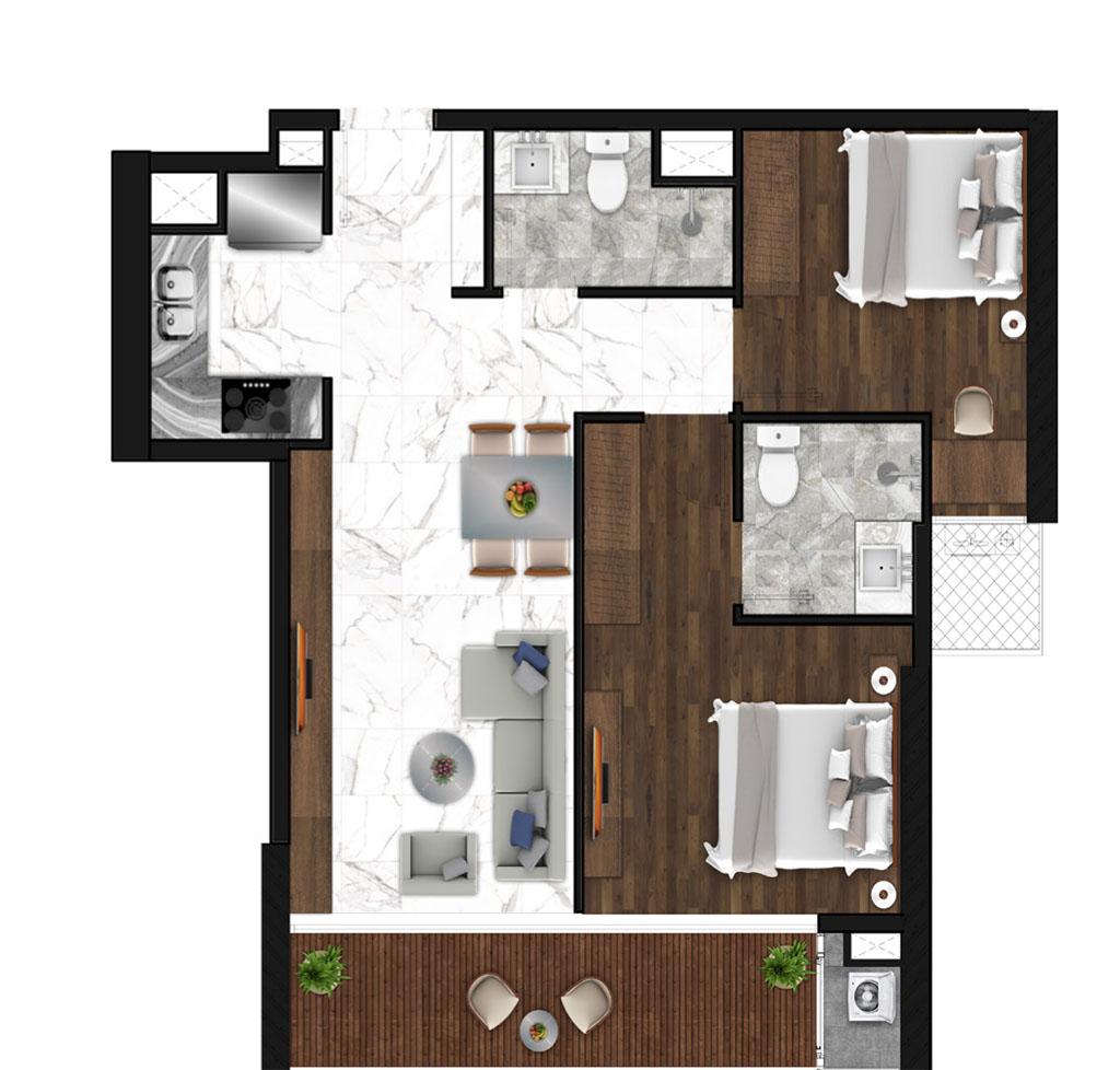 Sunshine Horozon thiết kế căn 2 phòng ngủ 75m2