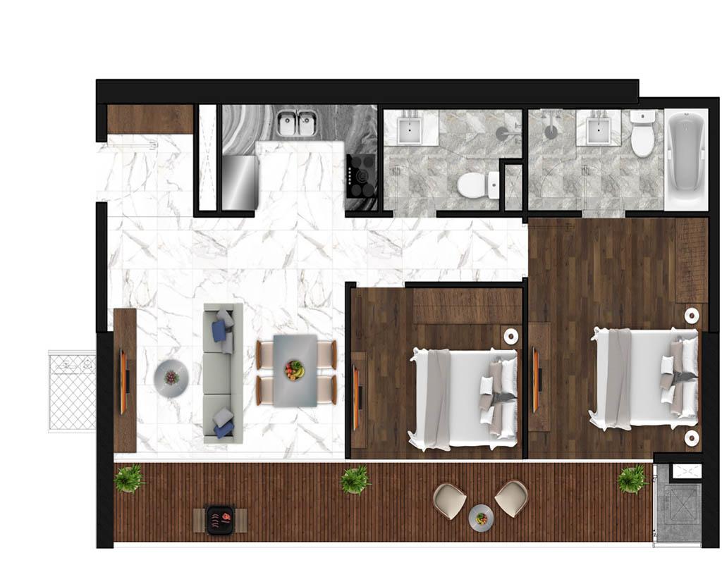 Sunshine Horozon thiết kế căn 2 phòng ngủ 87m2