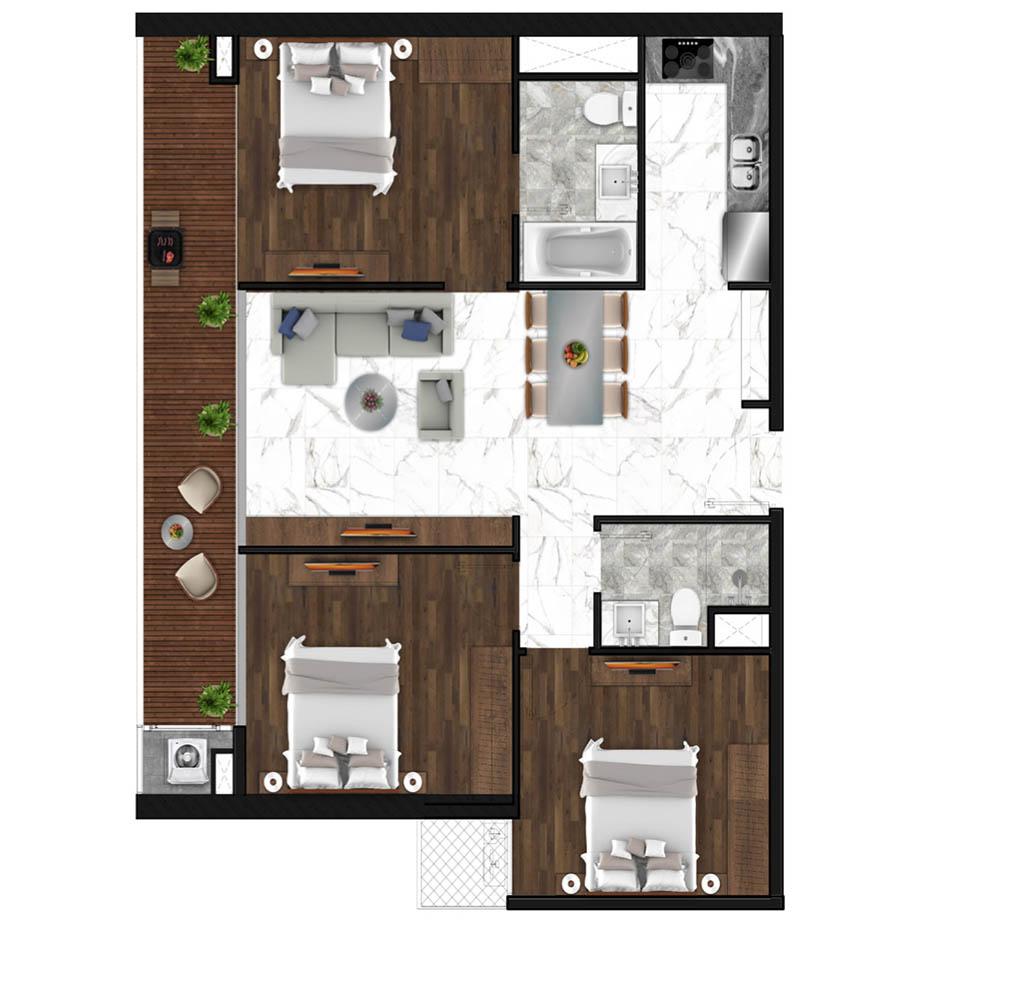 Sunshine Horozon thiết kế căn 3 phòng ngủ 103m2
