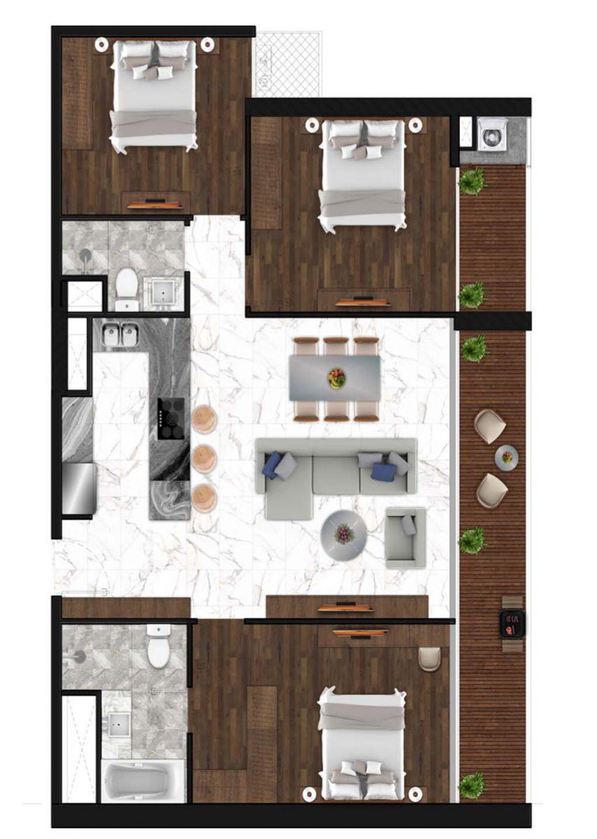 Sunshine Horozon thiết kế căn 2 phòng ngủ 125m2