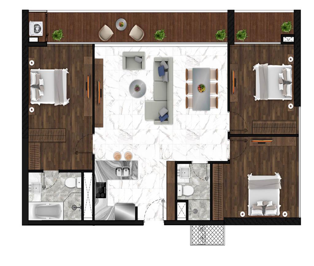 Sunshine Horozon thiết kế căn 3 phòng ngủ 125m2