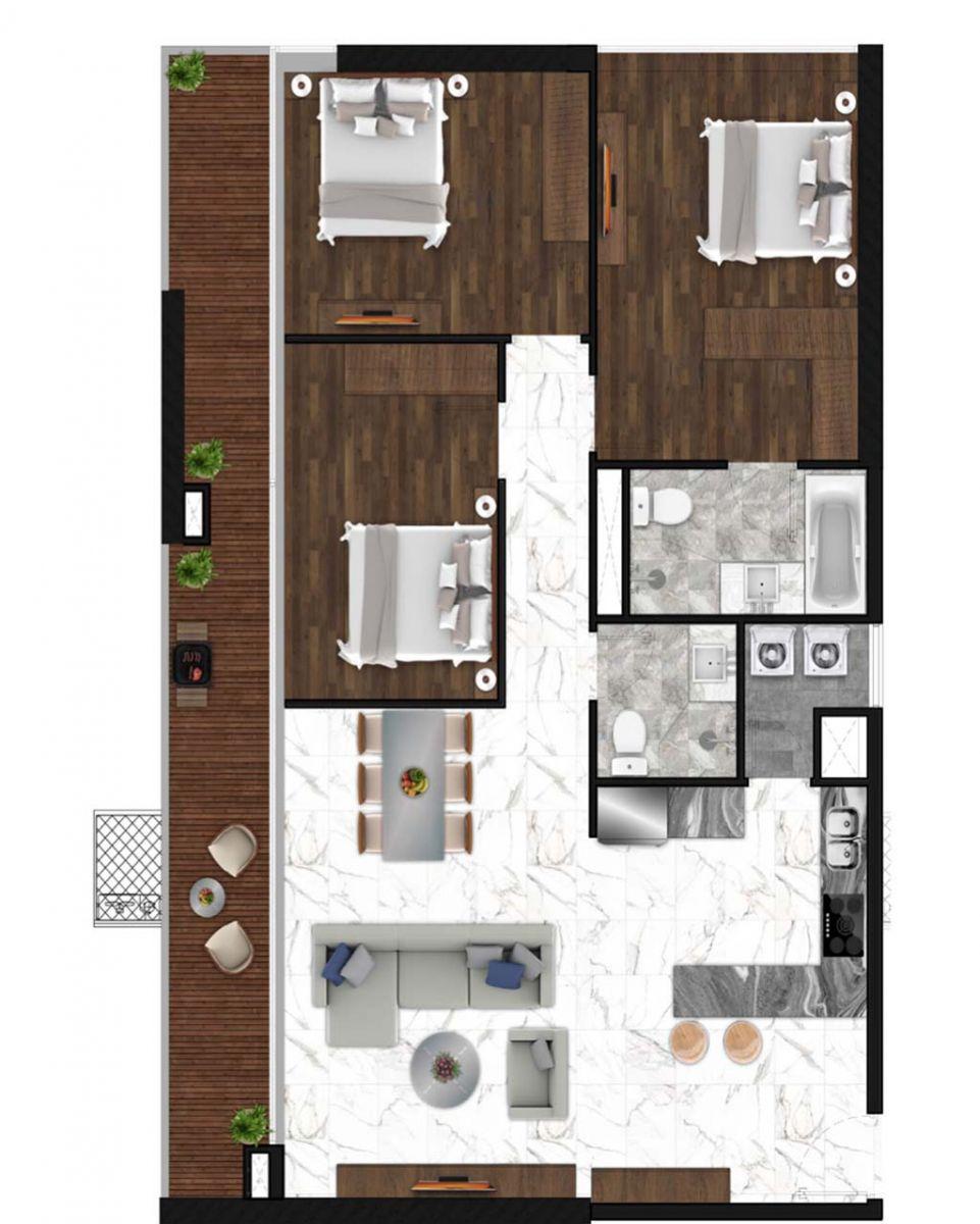 Sunshine Horozon thiết kế căn 3 phòng ngủ 129m2