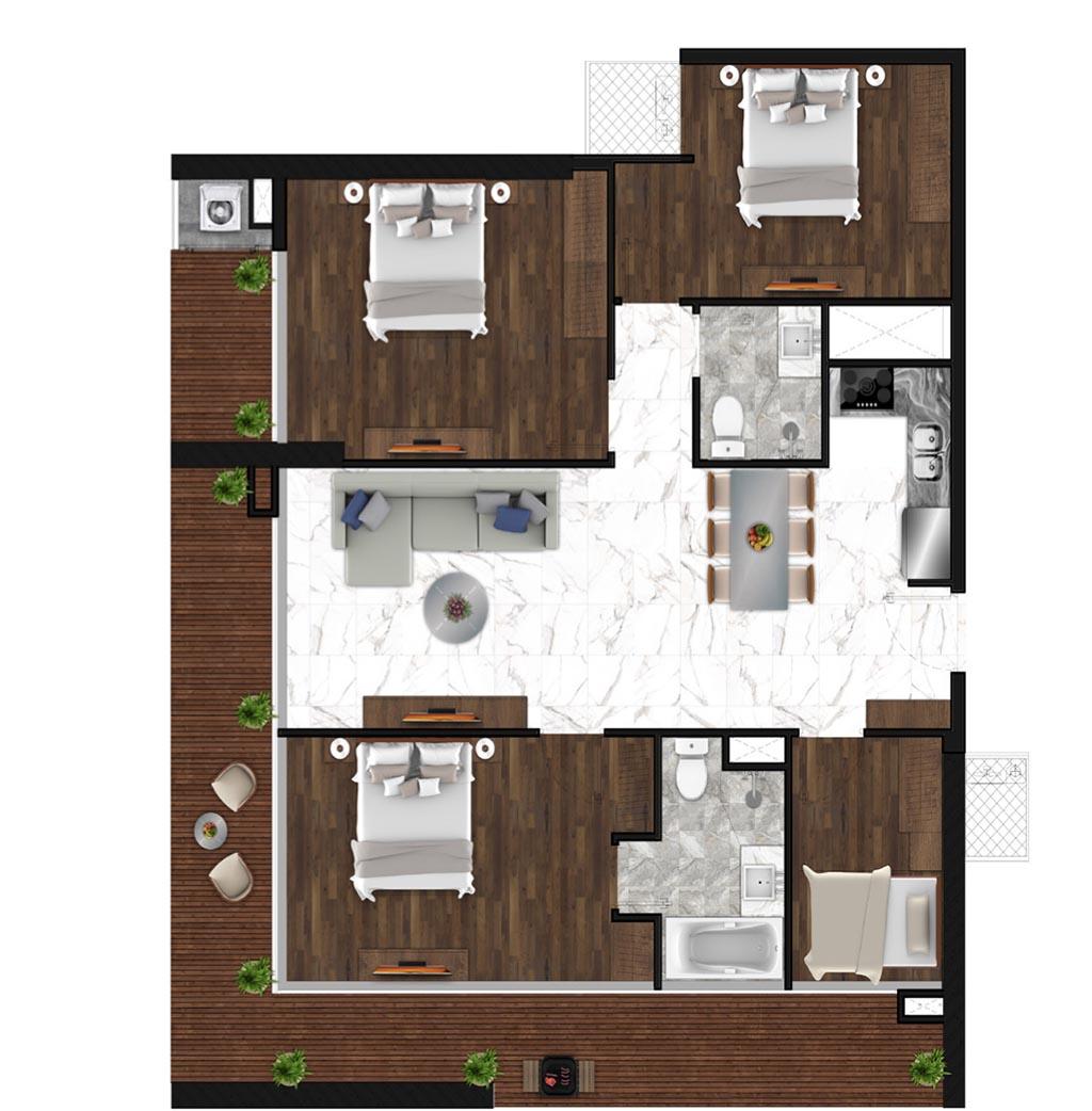 Sunshine Horozon thiết kế căn 4 phòng ngủ 129m2