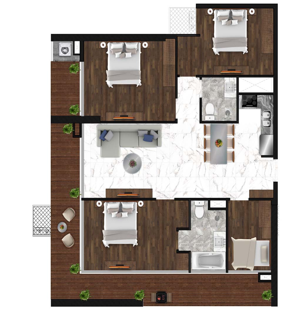 Sunshine Horozon thiết kế căn 4 phòng ngủ 139m2