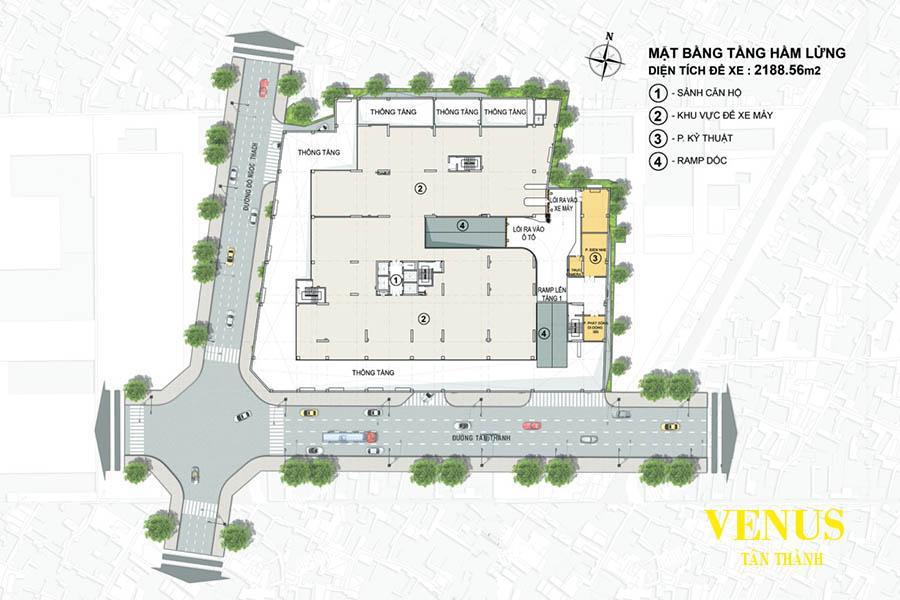 Mặt bằng tầng hầm 1 dự án Venus Luxury Quận 5