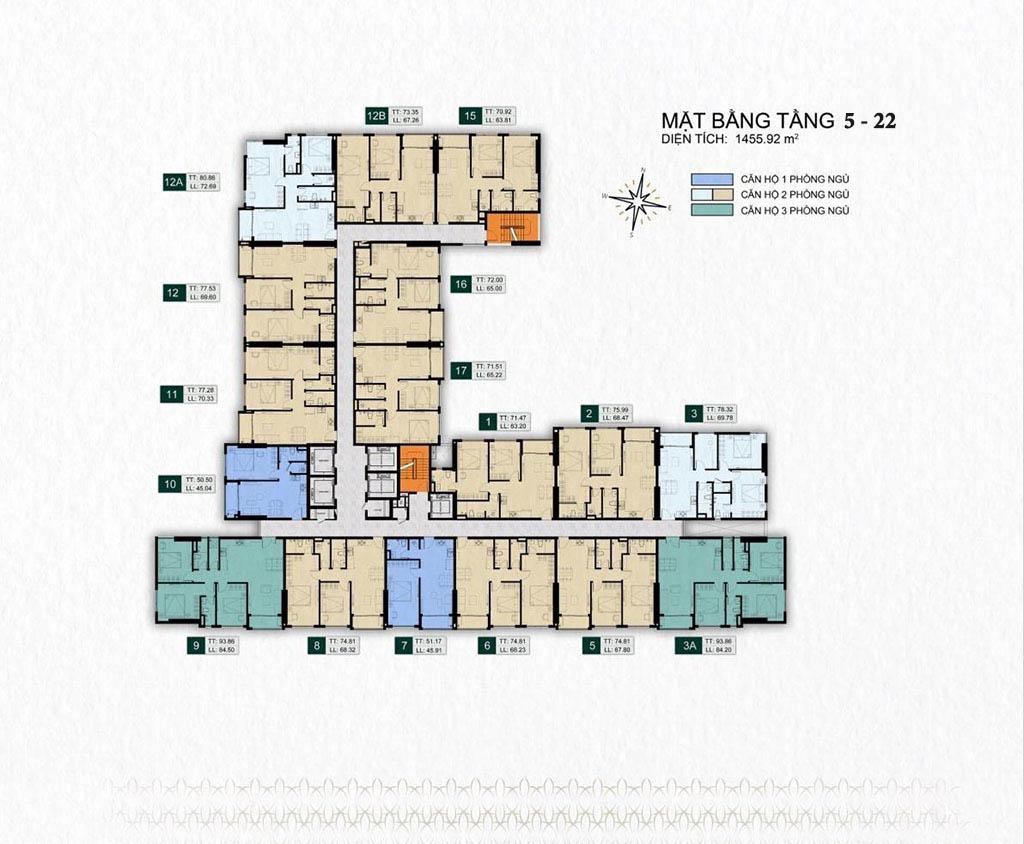 Mặt bằng tầng 5 - 22 dự án Venus Luxury Quận 5.