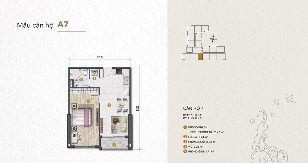 Thiết kế Venus Luxury Quận 5 căn hộ 1 phòng ngủ.