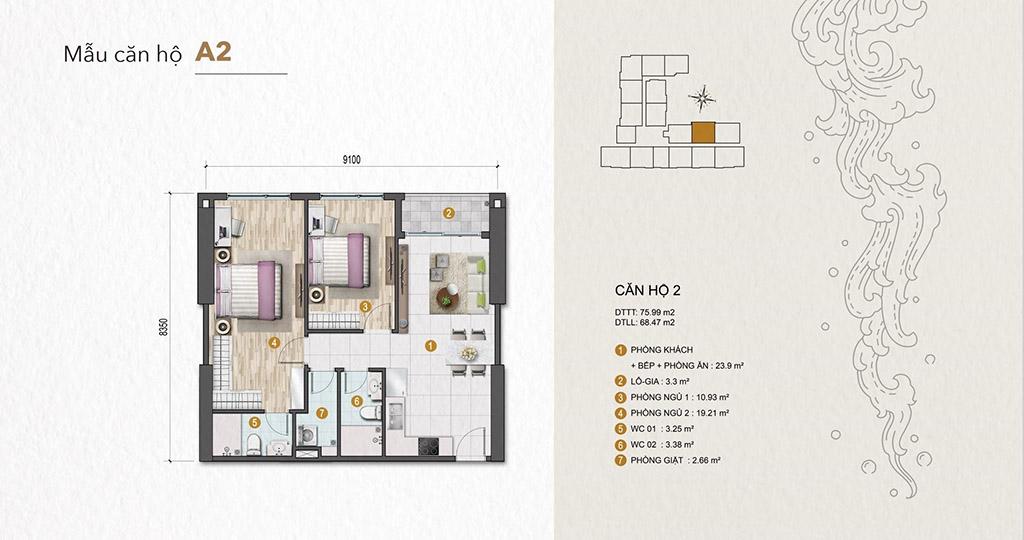 Thiết kế Venus Luxury Quận 5 căn hộ 2 phòng ngủ.