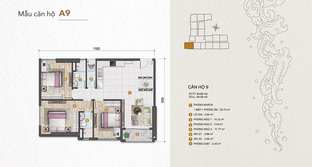 Thiết kế Venus Luxury Quận 5 căn hộ 3 phòng ngủ.